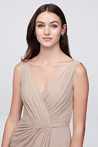 Style Pleated Wrap Bridesmaid Truffle David's Bridal Faux F19585 Dress Chiffon gqPn1A7v