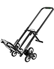 BestEquip Stair Climbing Cart 330lbs Capacity, Portable Folding Trolley with 5Inch Wheels, Stair Climber Hand Truck with Adjustable Handle for Pulling, All Terrain Heavy Duty Dolly Cart for Stairs