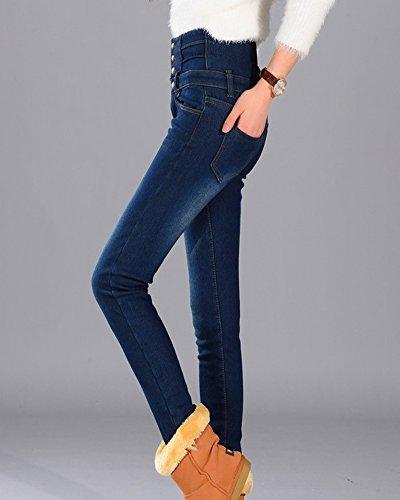 Azul Alta Jeans Mujer Elasticos Skinny Cintura Pantalones Vaqueros g1qwZwSp