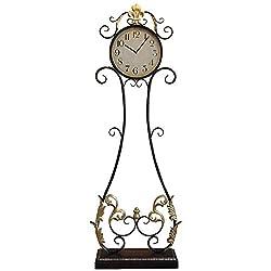 QFGHJ European Retro Wrought Iron Floor Clock Living Room Bedroom Standing Bell American Mute Clock Creative Home Clock Decoration