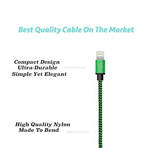 SyncTech Premium Nylon Braided Tangle-Free 1FT 3FT 6FT Lightning Cable Durable High-Speed Syncing/Charging for iPhone 7/6s/6/5/5s/SE/Plus iPad Mini/Air/Pro (2.) Green - 1FT - 3FT - 6FT)