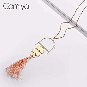 Davitu Long Links Necklace Female Cotton Tassels Pendant Collare Statement Necklaces Fashion Davitu Fashion Jewelry for Gift Metal Color: Gold-Color, Main Stone Color: Pink