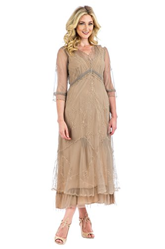 Nataya CL-509 Women's Sophia True Romance Vintage Style Party Dress in Sand - Sophias Style