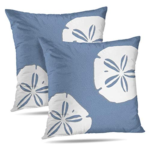 - KJONG Set of 2 Denim Blue Sand Dollars Nautical Zippered Pillow Cover,Square Decorative Throw Pillow Case Fashion Style Cushion Covers(18 x 18 inch,Two Sides Print)