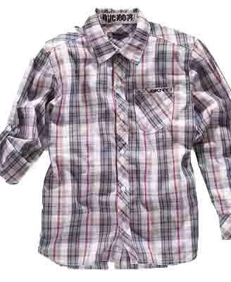2863f0986 Amazon.com: DKNY Boys Button Up Plaid Shirt Red/Blue (Large): Dress ...