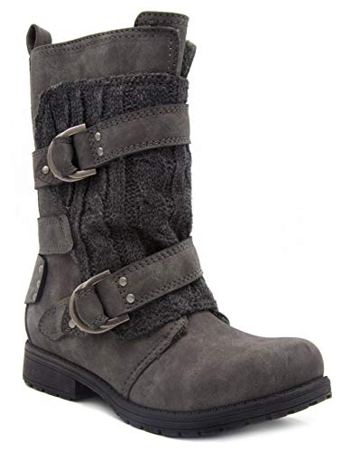 London Fog Womens Jupiter Winter Moto Boot with Cable Knit Overlay Grey 9 (Boots Womens Size Sweater 11)