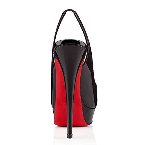Toe Zapatos Peep Altos Vestir Tacones Chris Negro Plataforma Sexy Stiletto Ponerse de Rojo Patent Suela Bombas de Boda Mujeres T nxqPwYP0A