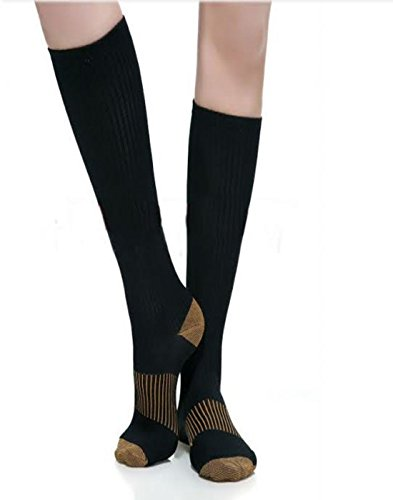3 Pairs Black Compression Socks For Men Copper Compression Stockings for Men One Size Fits All