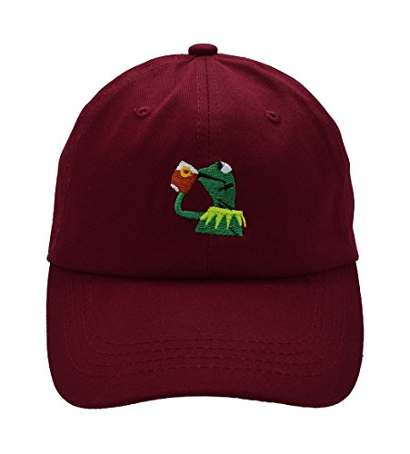 Raylarnia Kermit The Frog Sipping Tea Adjustable Strapback Cap-Burgundy
