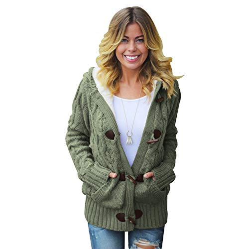 Buckle Maniche Maglieria Donna Pocket Giacca Inverno Tianbn Unita Chunky Casual Autunno Wool Hooded A Sweater Tinta Cardigan Horn Lunghe Green wXInxpZZ0q