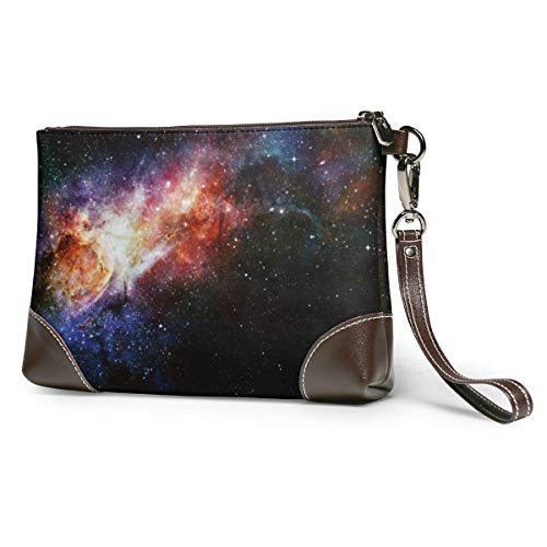 Women's Leather Zipper Wristlet Deep Outer Space With Stars Cellphone Card Wallets Clutch Holder Purse