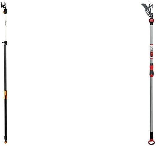 Fiskars 7.9-12 Foot ExtendableTree Pruning Stik Pruner (92406935K) & Corona TP 3206 SwivelCUT Long Reach Pruner - 1¼ Inch