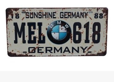 "BMW MEL-618 Germany Vintage Auto License Plate, Embossed Tag Size 6"" X 12"""