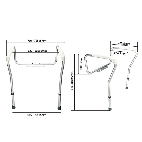 OvMax Toilet Safety Frame, Bathroom Safety Rail with Toilet Seat Assist Handrail Grab Bar, Medical Supply for Elderly, Adjustable Legs and Arm by OvMax (Image #3)
