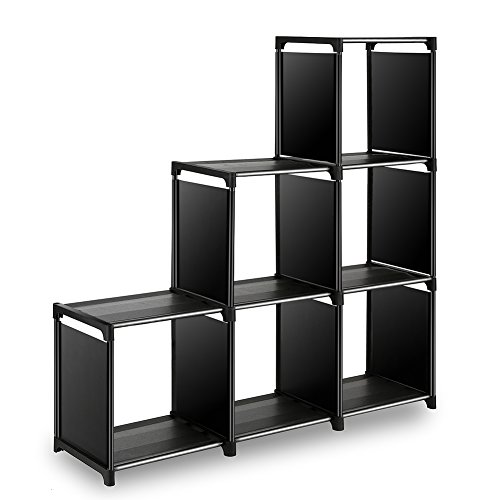 6-Cube Closet Organizer Shelves Storage Cubes Organizer Cubby Bins Cabinets Bookcase Organizing Storage Shelves for Bedroom Living Room Office, Black ()