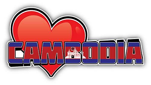(KW Vinyl Cambodia Art Heart Flag Travel Slogan Truck Car Window Bumper Sticker Decal 5