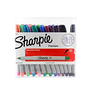 Sharpie - Permanent Markers, Ultra Fine Point, Assorted Colors,(1756761) (1-Pack of 24)