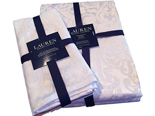 Lauren Ralph Lauren Paisley White (Shimmering Bright White) Tablecloth 70 x 104 Oblong + Set 4 Napkins Bundle by Lauren by Ralph Lauren