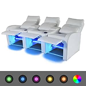 Luckyfu este Sillón de Cinema a 3 plazas reclinable con LED ...