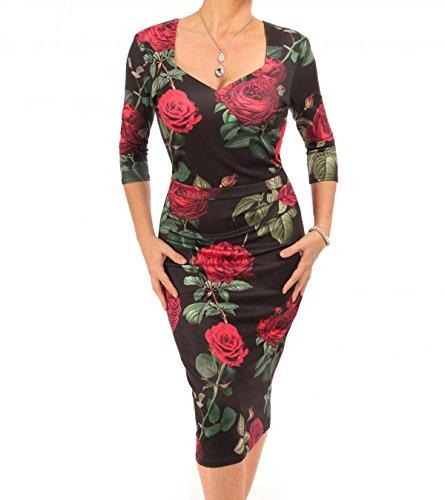 Femmes De Bananes Bleu De Rose Imprimé Robe Midi Noir