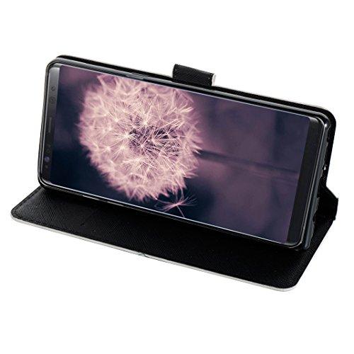 Galaxy Note 8 Protectora Funda, Galaxy Note8 Carcasas, Moon mood® 3D Pintado PU Cuero Suave TPU Interior Fundas con Tapa Protector Caso Cubierta Galaxy Note 8 6.3 pulgadas con Acollador Billetera Tarj Color 20