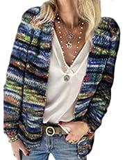 HAHAEMMA Regenboog gebreid vest cardigan pullover lange mouwen meerkleurige gestreepte trui vooraan open jas herfst winter