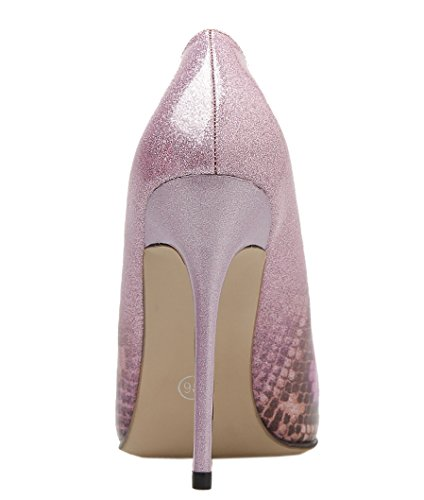 Harshiono Womens Patent Leather Classic Pointed Toe Office Lady Stiletto High Heels Fashion Shoes Pink-as Picture OHQNf7