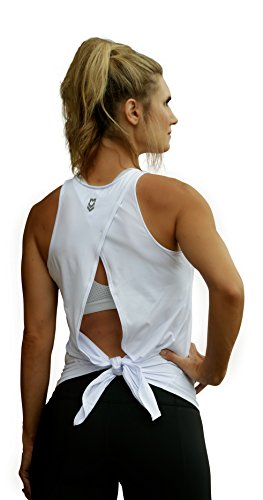 eight Open Back Workout Tank Top Yoga Sleeveless Shirt (Nylon Tennis Jersey)