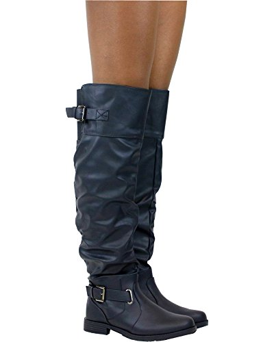 Belladia Womens Over The Knee Boot Black ITmdIID