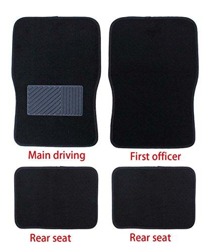 Aidle 4pcs Black Universal Car Carpet Floor Mat Set For Car, SUV, Van & Trucks - Front & Rear, Driver & Passenger (Van Black Carpet)