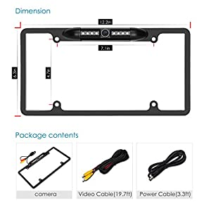 Pumpkin Waterproof Car License Plate Frame Rear View Backup Camera 170 Degree Wide Angle With 8 IR LED Night Vision