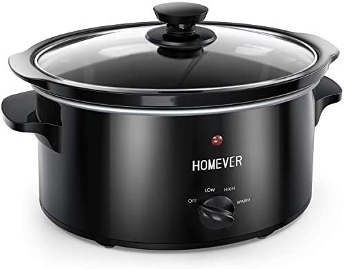 Mijoteuse Électrique, Homever Slow Cooker de 3,5 L, 3 Niveaux de Cuisson dont Maintien au Chaud, Couvercle en Verre et Bol en Céramique, Idéale pour 4 Personnes (Black)