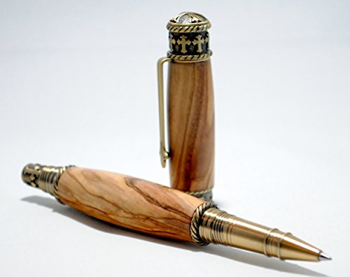 Faith Hope Love Rollerball Pen in Bethlehem Olivewood with Antique Brass Finish by The Shapen Oar