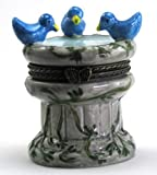 Blue Birds Bird Bath Fountain Trinket Box phb