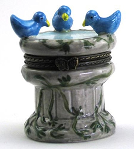 Art Gifts Blue Birds Bird Bath Fountain Hinged Trinket Box phb For Sale