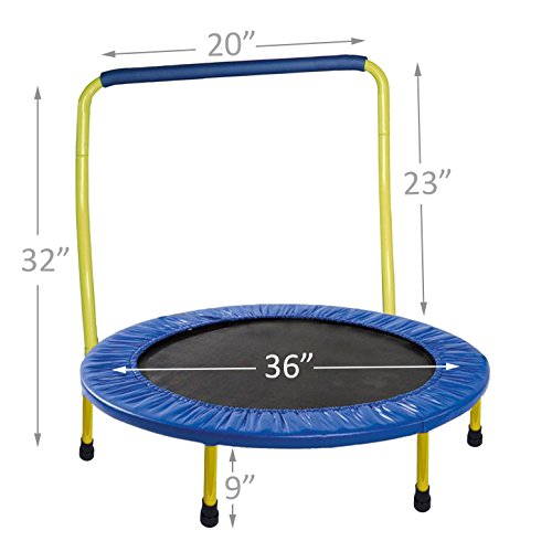 Portable & Foldable Trampoline - 36 Dia. Durable Construction Safe for Kids with Padded Frame Cover and Handle / 1 Year Warranty - Yellow by GYMENIST