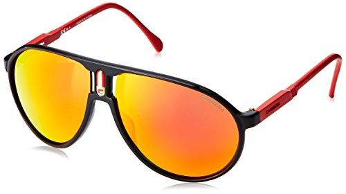 Carrera Champrus Aviator Sunglasses,Matte Black & Red,62 - Carrera Black Sunglasses Matte Champion