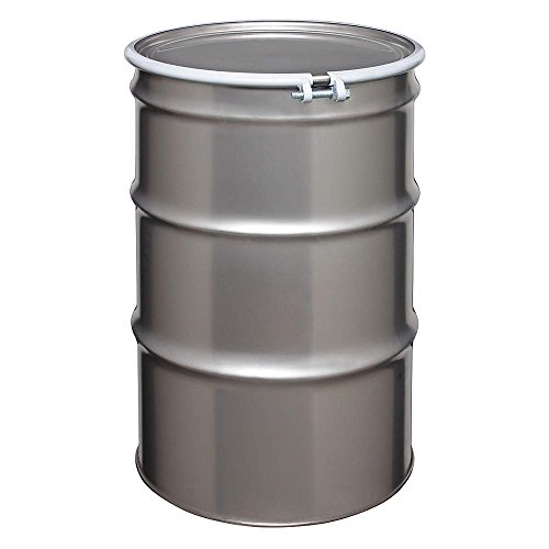 55 Gallon Stainless Steel Drum, Cover w/Bolt Ring Closure by Skolnik