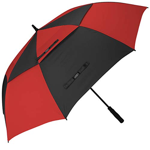 G4Free 62 Inch Automatic Open Golf Umbrella Extra Large Oversize Double Canopy Vented Windproof Waterproof Stick Umbrellas(Black/Red)
