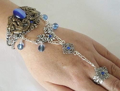 Dragon Slave Bracelet, handmade jewelry gothic medieval renaissance victorian art nouveau art deco tudor hand chain