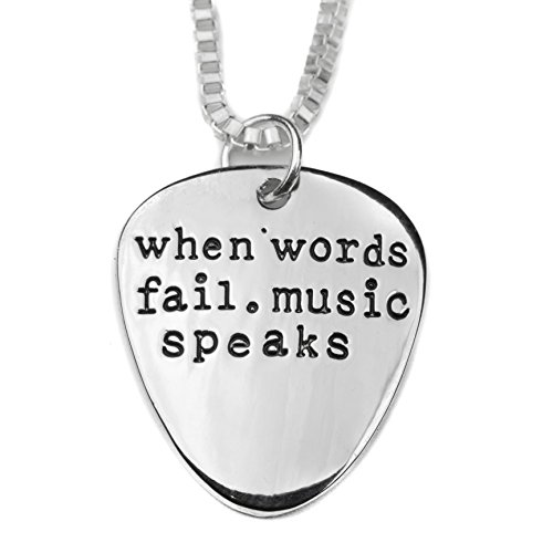 (Soul Statement Music Speaks Guitar Pick Necklace Meaningful Band Lovers Jewelry (Silver))