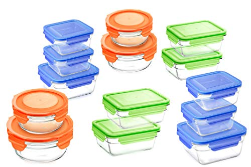 - Glasslock Airtight Spill Proof Food Storage Containers 28pc Set Assorted Color Lids Microwave & Oven Safe
