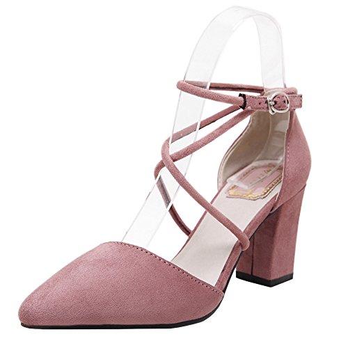 fereshte Women's Faux Velvet Pointed-Toe Tie-up Cross-Strap High Heels Stilettos Dress Pumps 130Pink GFAWhIjcHm