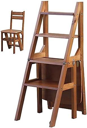 SED Escaleras de Mano Multiusos, Taburetes de Interior Escalera de Biblioteca de Madera Silla Taburetes Plegables de 4 Escalones, Escalera de Estantería de Oficina en Casa Taburete Antideslizante,Col: Amazon.es: Bricolaje y herramientas