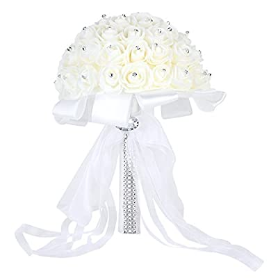 Febou Wedding Bouquet Crystal Roses Bridesmaid Bouquet, Bridal Bouquet Artificial Flowers for Wedding, Party and Church