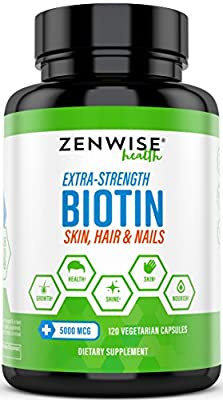 Biotin 5000 MCG - Extra Strength Hair Growth Support - Promotes Thicker, Fuller & Shinier Looking Hair - Vitamin B7 Skin & Nail Health Supplement - for Energy & Metabolism - 120 Vegetarian Capsules