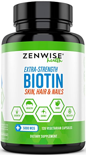 Biotin 5000 MCG  Extra Strength Hair Growth Support  Promotes Thicker Fuller amp Shinier Looking Hair  Vitamin B7 Skin amp Nail Health Supplement  For Energy amp Metabolism  120 Vegetarian Capsules