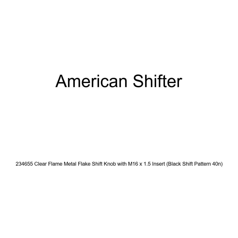 American Shifter 234655 Clear Flame Metal Flake Shift Knob with M16 x 1.5 Insert Black Shift Pattern 40n
