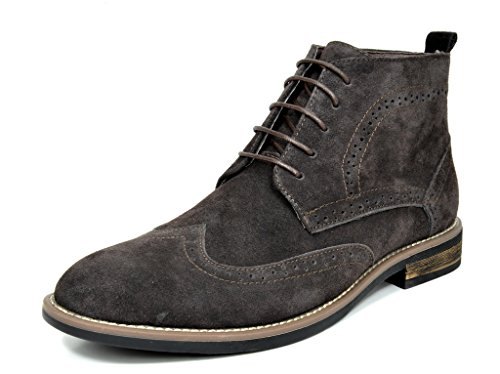 Bruno Marc Mens Stivali In Pelle Scamosciata Urbana Stringati Oxford Desert Boots 2-marrone Scuro