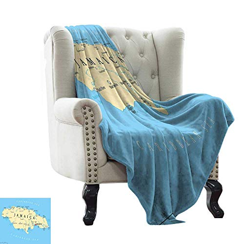 "BelleAckerman Outdoor Blanket Jamaican,Map of Jamaica Kingston Caribbean Sea Important Locations in Country,Pale Blue Beige Black 300GSM,Super Soft and Warm,Durable Blanket 60""x70"""